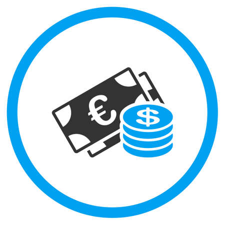 dolar: Euro Monedas Y Billetes Dolar icono glifo. El estilo es el símbolo círculo plana bicolor, colores azul y gris, ángulos redondeados, fondo blanco.