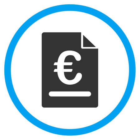 indenture: Euro Invoice glyph icon. Style is bicolor flat circled symbol, blue and gray colors, rounded angles, white background.