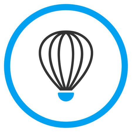 aerostat: Aerostat vector icon. Style is bicolor flat circled symbol, blue and gray colors, rounded angles, white background. Illustration