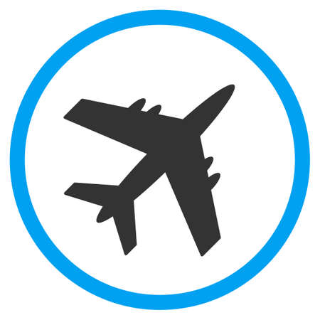 Aircraft vector icon. Style is bicolor flat circled symbol, blue and gray colors, rounded angles, white background. Illustration