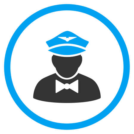 steward: Airline Steward vector icon. Style is bicolor flat circled symbol, blue and gray colors, rounded angles, white background.