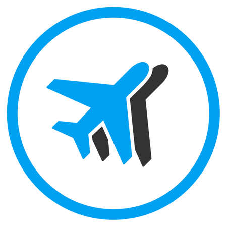 airlines: Airlines vector icon. Style is bicolor flat circled symbol, blue and gray colors, rounded angles, white background. Illustration