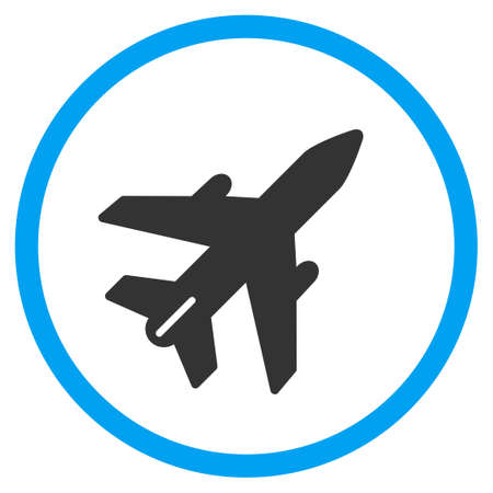 usaf: Airplane vector icon. Style is bicolor flat circled symbol, blue and gray colors, rounded angles, white background.