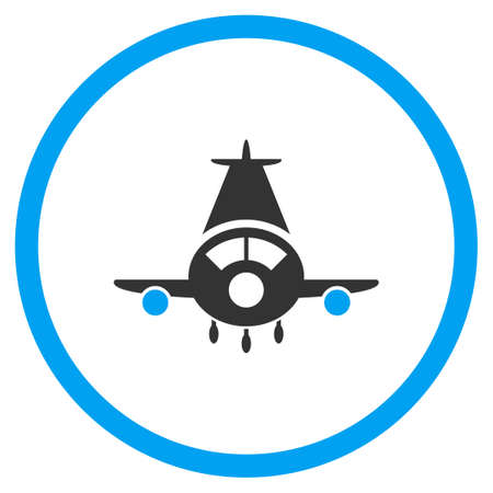 airflight: Cargo Plane vector icon. Style is bicolor flat circled symbol, blue and gray colors, rounded angles, white background. Illustration