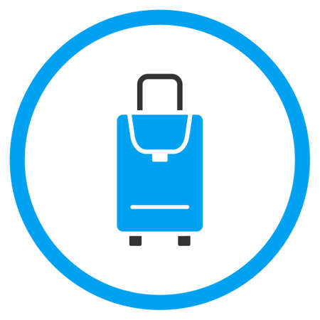 the case selected: Carryon vector icon. Style is bicolor flat circled symbol, blue and gray colors, rounded angles, white background. Illustration