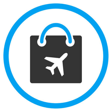 duty free: Duty Free Shopping vector icon. Style is bicolor flat circled symbol, blue and gray colors, rounded angles, white background.