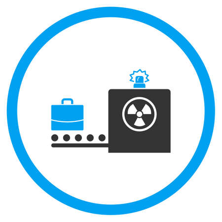 anti nuclear: Baggage Screening vector icon. Style is bicolor flat circled symbol, blue and gray colors, rounded angles, white background. Illustration