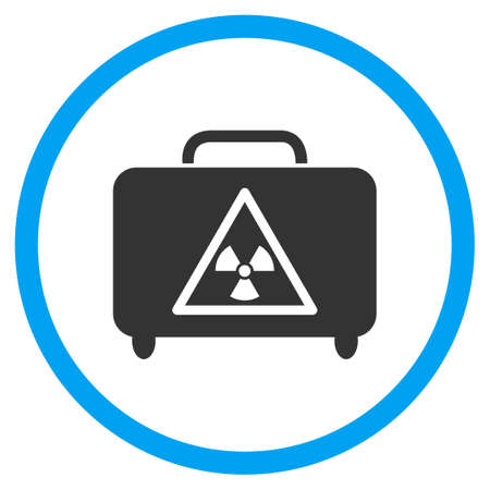 the case selected: Dangerous Luggage vector icon. Style is bicolor flat circled symbol, blue and gray colors, rounded angles, white background.