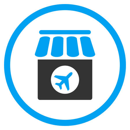 duty free: Duty Free vector icon. Style is bicolor flat circled symbol, blue and gray colors, rounded angles, white background. Illustration