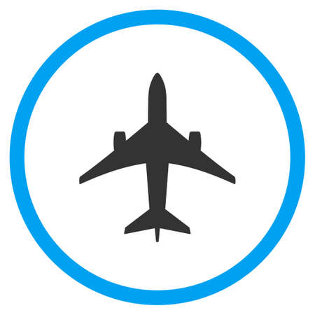 usaf: Jet Plane vector icon. Style is bicolor flat circled symbol, blue and gray colors, rounded angles, white background.