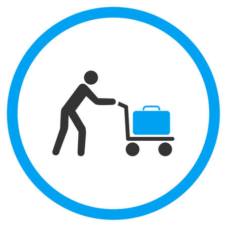 the case selected: Passenger Trolley vector icon. Style is bicolor flat circled symbol, blue and gray colors, rounded angles, white background.