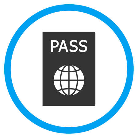citizenship: Passport vector icon. Style is bicolor flat circled symbol, blue and gray colors, rounded angles, white background.