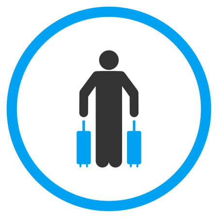 the case selected: Passenger Luggage vector icon. Style is bicolor flat circled symbol, blue and gray colors, rounded angles, white background.