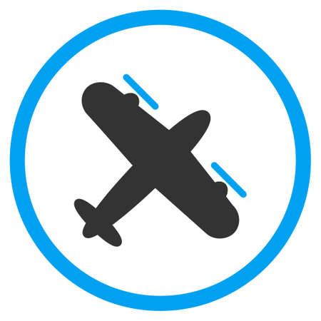 airflight: Propeller Airplane vector icon. Style is bicolor flat circled symbol, blue and gray colors, rounded angles, white background.