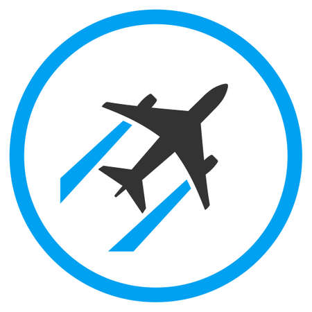 airforce: Air Jet Trace vector icon. Style is bicolor flat circled symbol, blue and gray colors, rounded angles, white background. Illustration