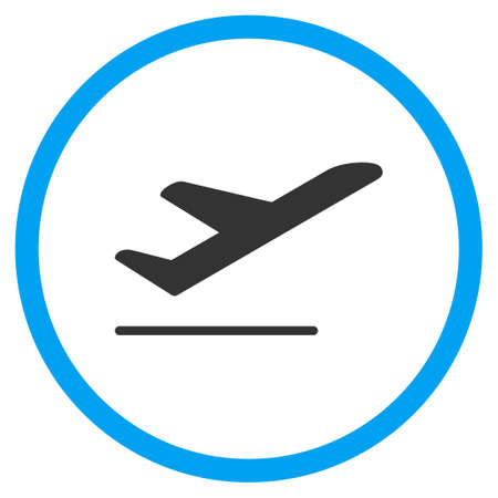 airflight: Airplane Departure vector icon. Style is bicolor flat circled symbol, blue and gray colors, rounded angles, white background.
