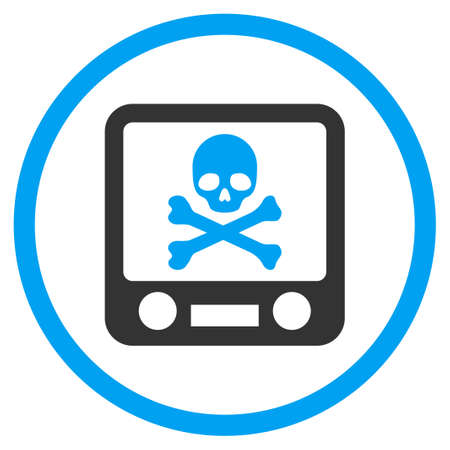 screening: Xray Screening vector icon. Style is bicolor flat circled symbol, blue and gray colors, rounded angles, white background.