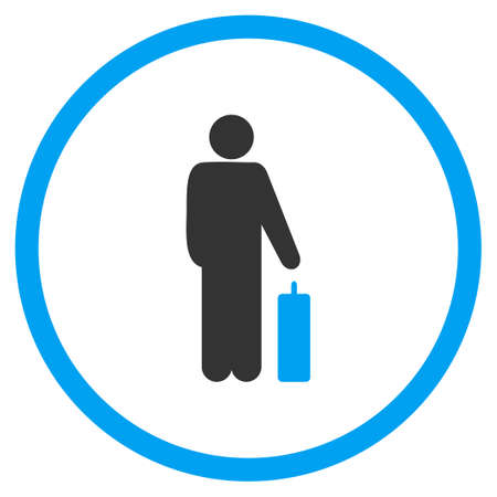 the case selected: Passenger Baggage vector icon. Style is bicolor flat circled symbol, blue and gray colors, rounded angles, white background.