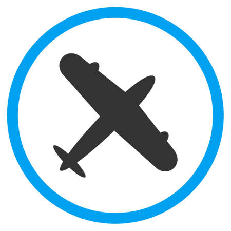 airflight: Aeroplane glyph icon. Style is bicolor flat circled symbol, blue and gray colors, rounded angles, white background.