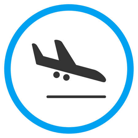 airflight: Aiplane Landing glyph icon. Style is bicolor flat circled symbol, blue and gray colors, rounded angles, white background.