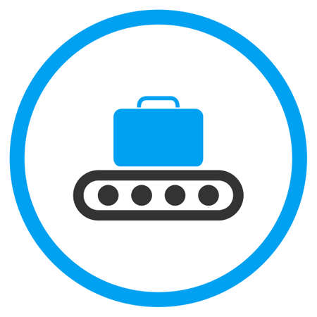 the case selected: Baggage Conveyor glyph icon. Style is bicolor flat circled symbol, blue and gray colors, rounded angles, white background.