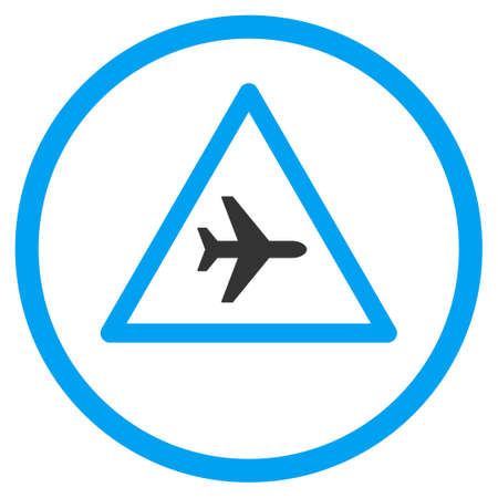 airflight: Airplane Danger glyph icon. Style is bicolor flat circled symbol, blue and gray colors, rounded angles, white background.