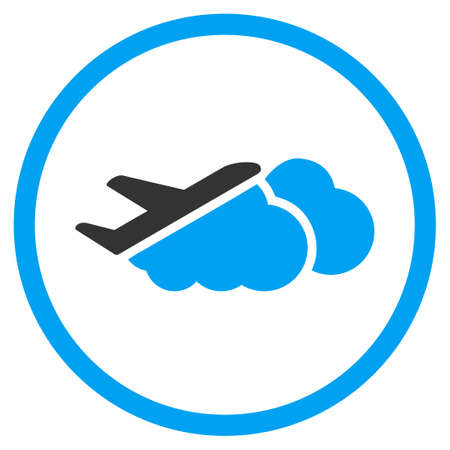 airflight: Airplane Over Clouds glyph icon. Style is bicolor flat circled symbol, blue and gray colors, rounded angles, white background.