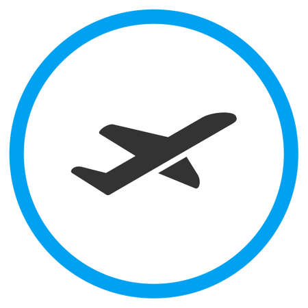 takeoff: Airplane Takeoff glyph icon. Style is bicolor flat circled symbol, blue and gray colors, rounded angles, white background.