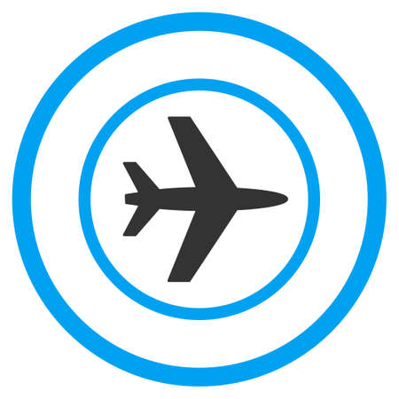 airflight: Airport glyph icon. Style is bicolor flat circled symbol, blue and gray colors, rounded angles, white background.