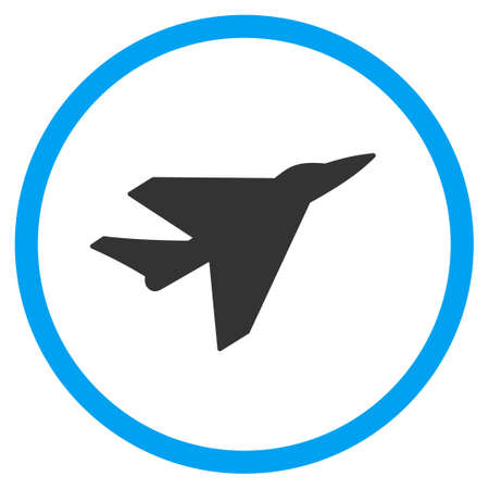 Intercepter glyph icon. Style is bicolor flat circled symbol, blue and gray colors, rounded angles, white background.