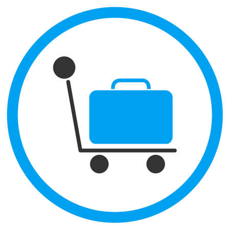 the case selected: Luggage Trolley glyph icon. Style is bicolor flat circled symbol, blue and gray colors, rounded angles, white background.