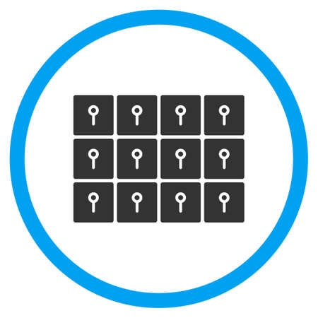 circled: Lockers glyph icon. Style is bicolor flat circled symbol, blue and gray colors, rounded angles, white background. Stock Photo