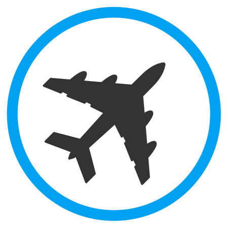 Bomber glyph icon. Style is bicolor flat circled symbol, blue and gray colors, rounded angles, white background. Stock Photo