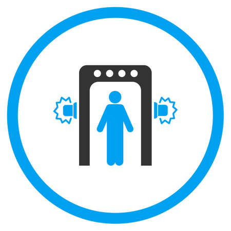 screening: Passenger Screening glyph icon. Style is bicolor flat circled symbol, blue and gray colors, rounded angles, white background.