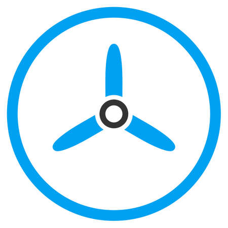 airscrew: Three Bladed Screw glyph icon. Style is bicolor flat circled symbol, blue and gray colors, rounded angles, white background.