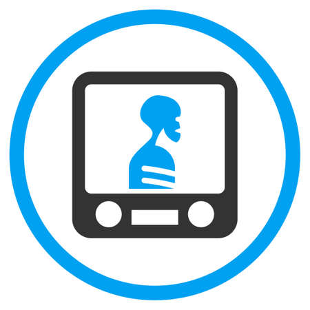 screening: Xray Screening glyph icon. Style is bicolor flat circled symbol, blue and gray colors, rounded angles, white background. Stock Photo