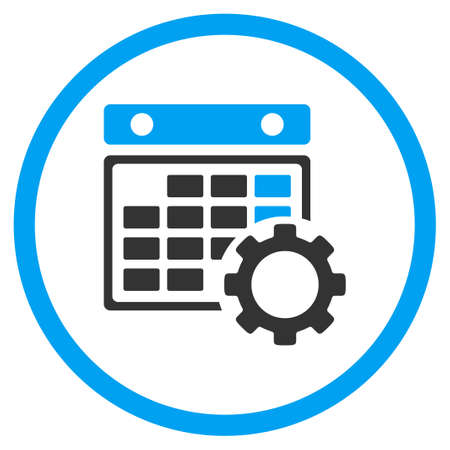 configuration: Calendar Configuration vector icon. Style is bicolor flat circled symbol, blue and gray colors, rounded angles, white background. Illustration