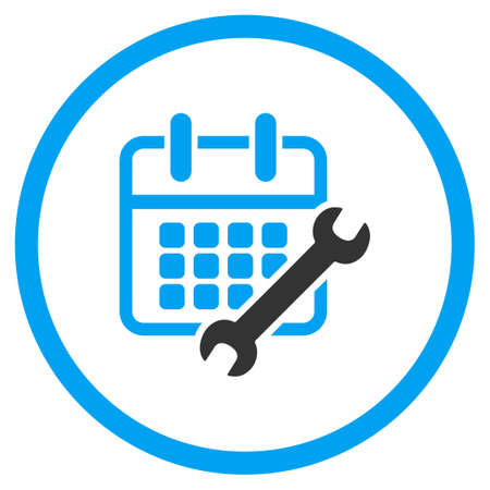 configure: Calendar Configure vector icon. Style is bicolor flat circled symbol, blue and gray colors, rounded angles, white background. Illustration