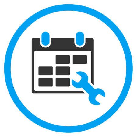 cronograma: Horarios configurar iconos de vectores. El estilo es símbolo de un círculo bicolor plana, colores azul y gris, ángulos redondeados, fondo blanco.