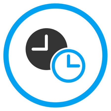 circled: Clocks vector icon. Style is bicolor flat circled symbol, blue and gray colors, rounded angles, white background. Illustration