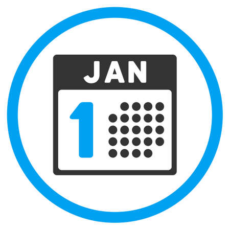 1 january: January First vector icon. Style is bicolor flat circled symbol, blue and gray colors, rounded angles, white background.