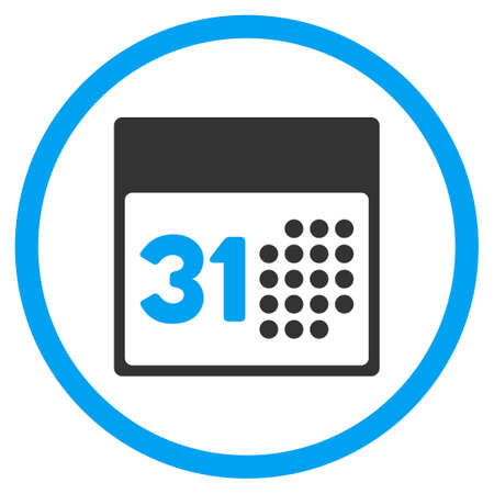 last day: Last Month Day vector icon. Style is bicolor flat circled symbol, blue and gray colors, rounded angles, white background.