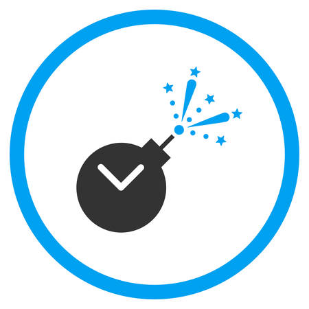 explosive watch: Time Fireworks Charge vector icon. Style is bicolor flat circled symbol, blue and gray colors, rounded angles, white background.