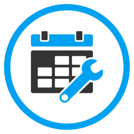 schedule system: Timetable Options vector icon. Style is bicolor flat circled symbol, blue and gray colors, rounded angles, white background. Illustration