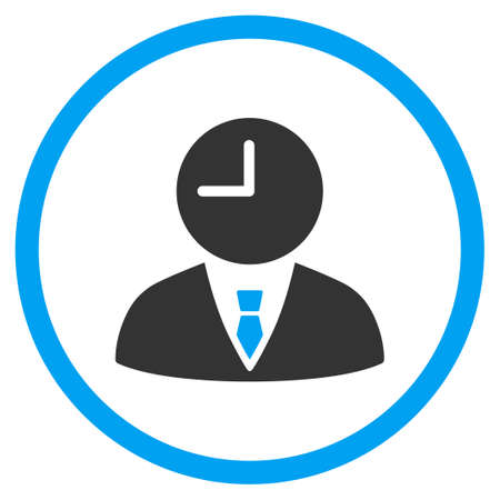 temporary workers: Time Manager glyph icon. Style is bicolor flat circled symbol, blue and gray colors, rounded angles, white background.