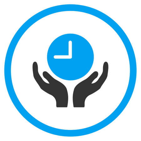 timed: Clock Care glyph icon. Style is bicolor flat circled symbol, blue and gray colors, rounded angles, white background.