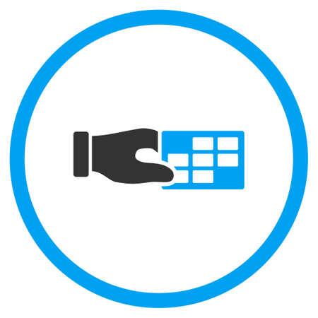 cronograma: Horario del vector del icono Propiedades. El estilo es s�mbolo de un c�rculo bicolor plana, colores azul y gris, �ngulos redondeados, fondo blanco.