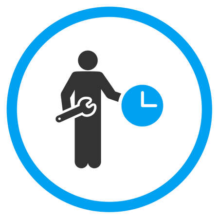 serviceman: Clock Serviceman vector icon. Style is bicolor flat circled symbol, blue and gray colors, rounded angles, white background.