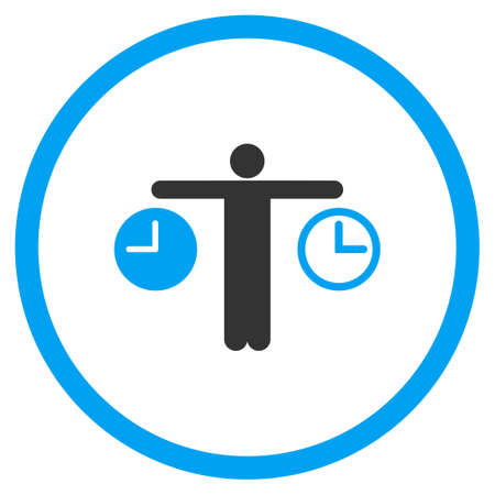 time account: Compare Time vector icon. Style is bicolor flat circled symbol, blue and gray colors, rounded angles, white background.