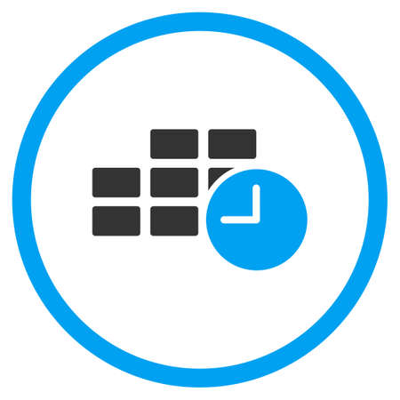 timed: Date Time vector icon. Style is bicolor flat circled symbol, blue and gray colors, rounded angles, white background.